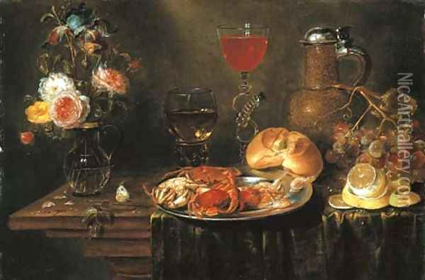 Roses and an iris in a glass vase, crabs and prawns on a pewter platter, a Facon-de-Venise wineglass, a stoneware ewer, a bunch of grapes Oil Painting - Alexander Adriaenssen