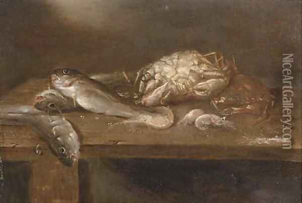 Crabs, pikes and shrimp on a wooden ledge Oil Painting - Alexander Adriaenssen