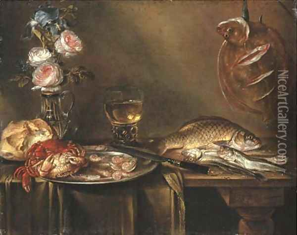 Roses and an iris in a glass vase, crabs and prawns on a pewter platter, a bread roll, a roemer and fish on a partly draped table Oil Painting - Alexander Adriaenssen