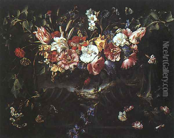 Garland of Flowers with Landscape, 1652 Oil Painting - Juan De Arellano