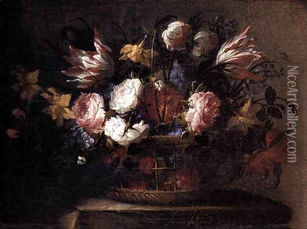Still-Life with a Basket of Flowers 1650 Oil Painting - Juan De Arellano