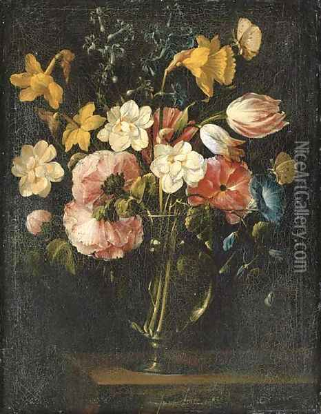 Roses, clematis, a tulip and other flowers in a glass vase on a wooden ledge with a butterfly Oil Painting - Juan De Arellano