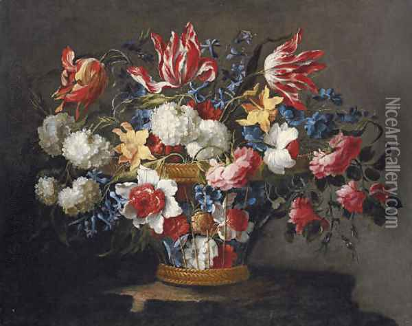 Snowballs, daffodils, tulips, roses and other flowers in a wicker basket on a ledge Oil Painting - Juan De Arellano