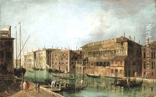 The Grand Canal, Venice, at the Fondaco dei Turchi Oil Painting - Francesco Albotto