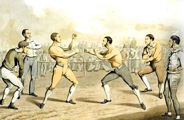 A Prize Fight, from 'The National Sports of Great Britain' 1823 Oil Painting - Henry Thomas Alken