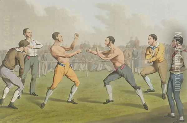 A Prize Fight, aquatinted by I. Clark, pub. by Thomas McLean, 1820 Oil Painting - Henry Thomas Alken