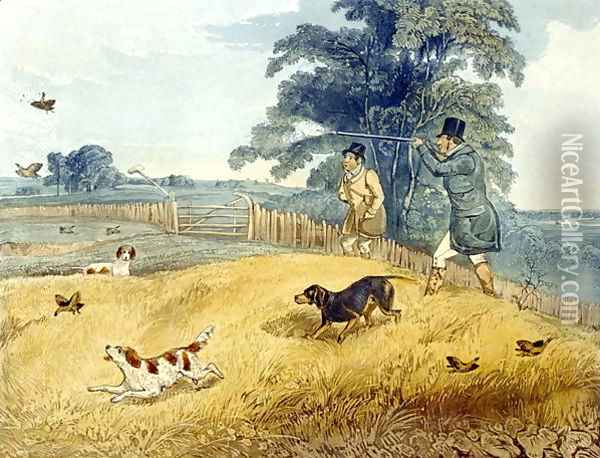 Flushing Birds, plate from 'Partridge Shooting' Oil Painting - Henry Thomas Alken