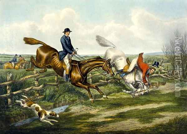 Falling Off, plate from 'The Right and The Wrong Sort', in Fores Hunting Sketches 1859 Oil Painting - Henry Thomas Alken