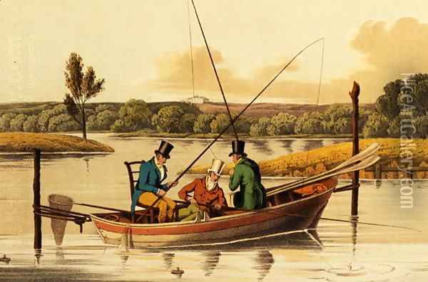Fishing in a Punt, aquatinted by I. Clark, pub. by Thomas McLean, 1820 Oil Painting - Henry Thomas Alken