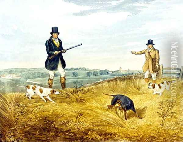 Gun and Loader, plate from 'Partridge Shooting' Oil Painting - Henry Thomas Alken