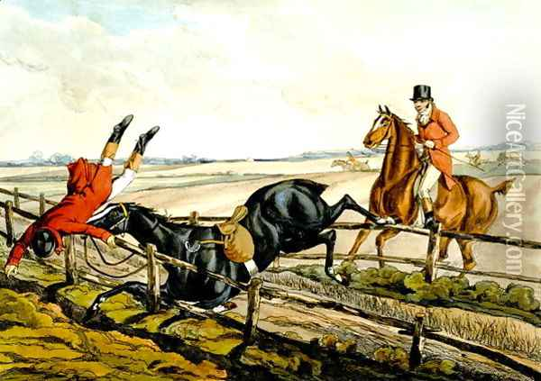 Misjudging the Jump, plate from 'Qualified Horses and Unqualified Riders', 1815 Oil Painting - Henry Thomas Alken
