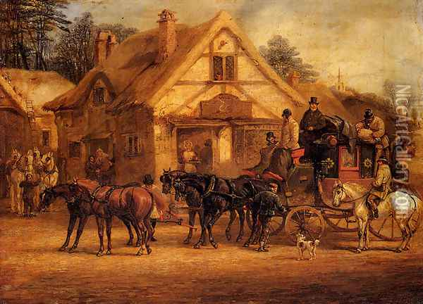 A Halted Coach Oil Painting - Henry Thomas Alken