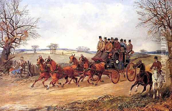 A Coach and Four on an Autumn Road Oil Painting - Henry Thomas Alken