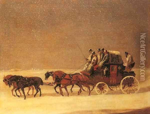 The Derby and London Royal Mail on the Open Road in Winter Oil Painting - Henry Thomas Alken