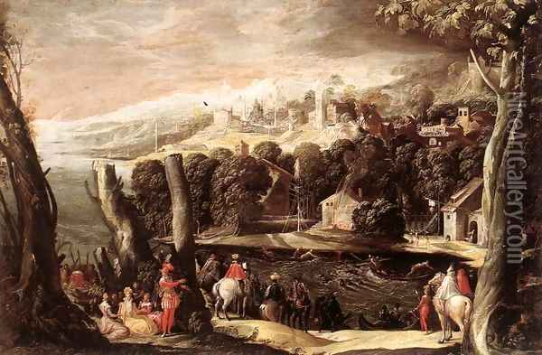 Deer Hunt Oil Painting - Niccolo dell' Abbate
