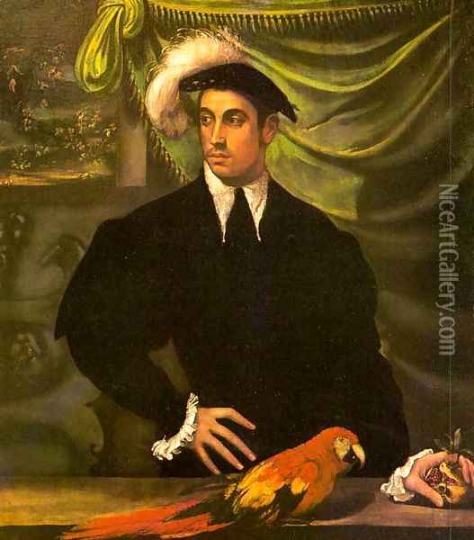 Portrait of a Gentleman with a Parrot 1552-55 Oil Painting - Niccolo dell' Abbate