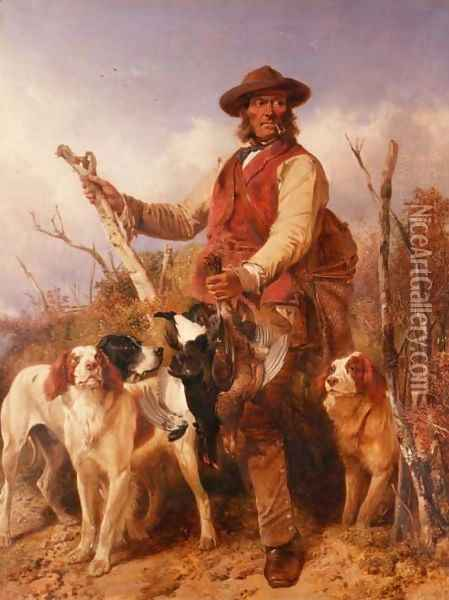 Gamekeeper with Dogs Oil Painting - Richard Ansdell