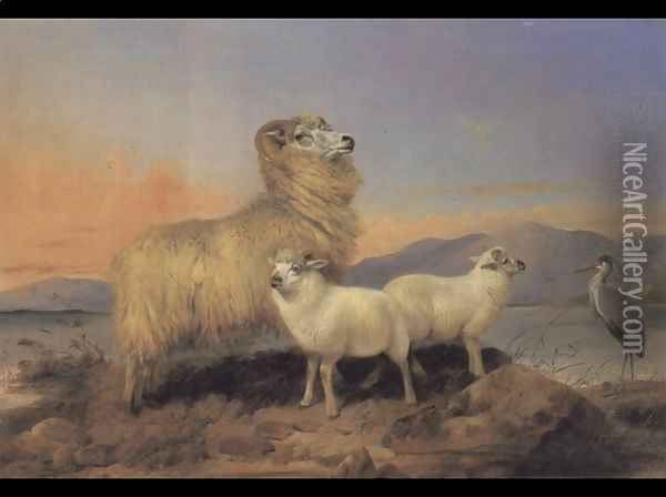 A Ewe with Lambs and a Heron Beside a Loch Oil Painting - Richard Ansdell