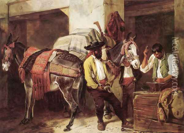 The Blacksmith's Shop Oil Painting - Richard Ansdell