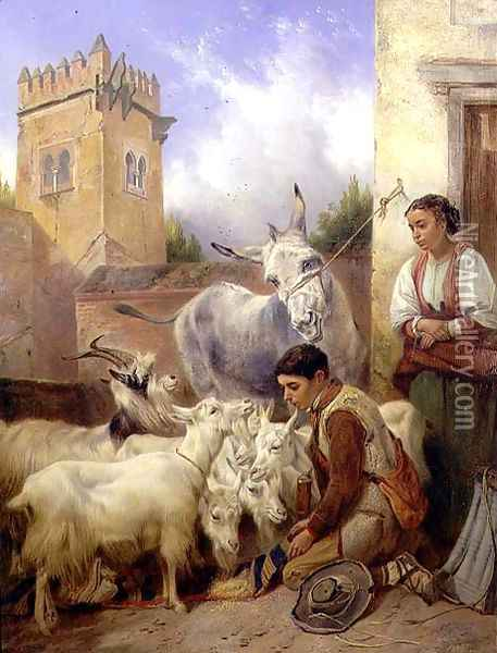 Feeding Goats in the Alhambra, 1871 Oil Painting - Richard Ansdell