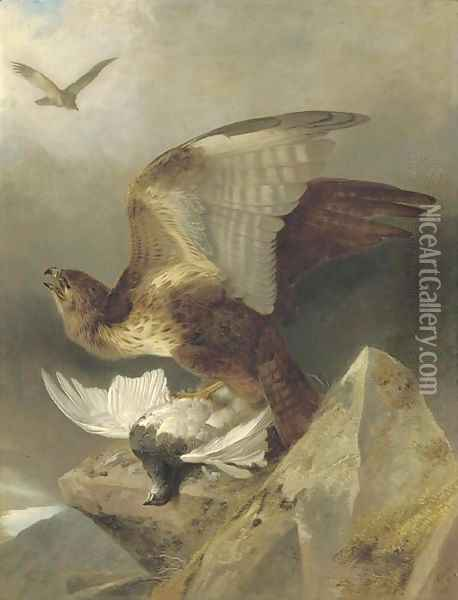 A buzzard with a ptarmigan in a highland landscape Oil Painting - Richard Ansdell