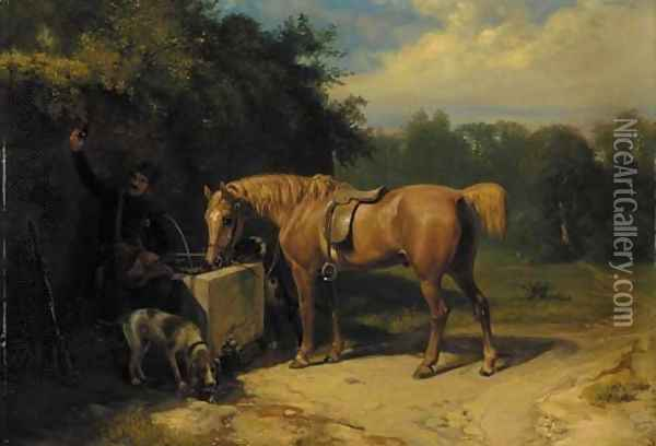 At the Water Pump Oil Painting - Richard Ansdell