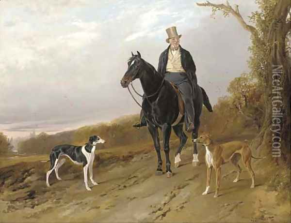Charles, 2nd Earl of Talbot, on a dark bay hunter, with his greyhounds Top and Tabinet Oil Painting - Richard Ansdell