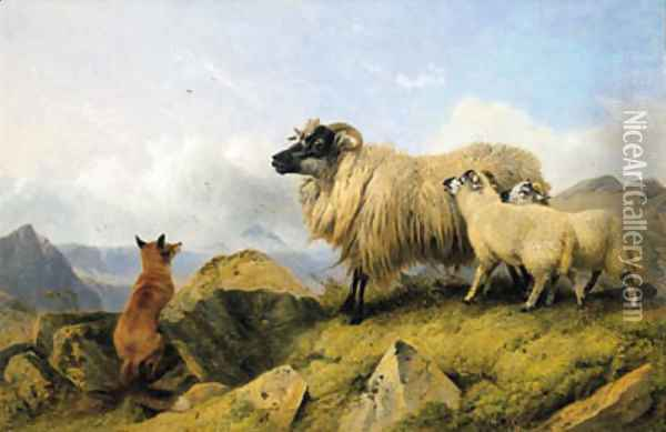 Highland Folk - Two Lambs, a Ewe and a Fox Oil Painting - Richard Ansdell