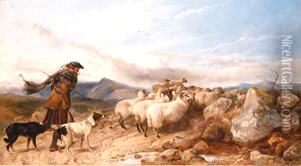 Crossing the Moor Oil Painting - Richard Ansdell