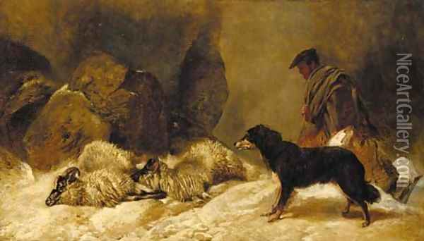 Lost, a shepherd with a dog and sheep in a snowy landscape Oil Painting - Richard Ansdell