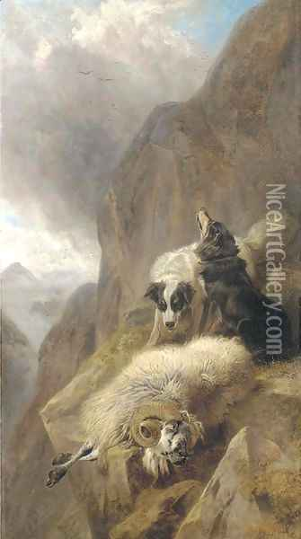 Sheepdogs with a stricken sheep in a mountainous Highland landscape Oil Painting - Richard Ansdell