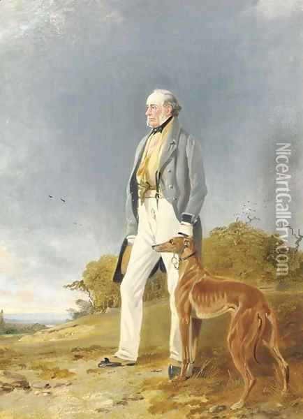 Mr. Geddes and his greyhound Glory Oil Painting - Richard Ansdell