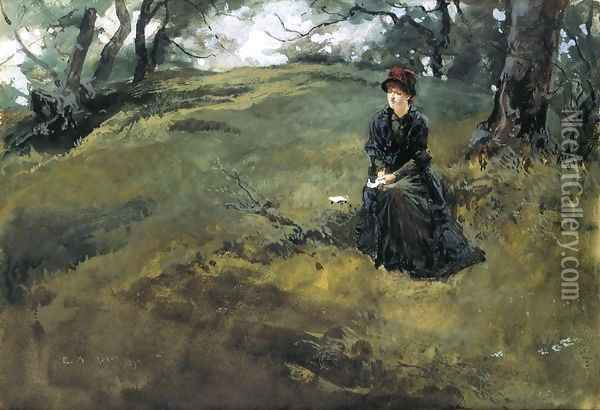 Young Woman in the Woods Oil Painting - Edwin Austin Abbey