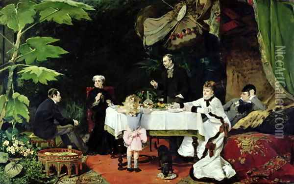 The Luncheon in the Conservatory, 1877 Oil Painting - Louise Abbema