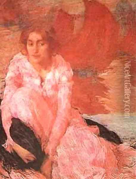Girl In A Pink Dress 1900-1902 Oil Painting - Edmond-Francois Aman-Jean