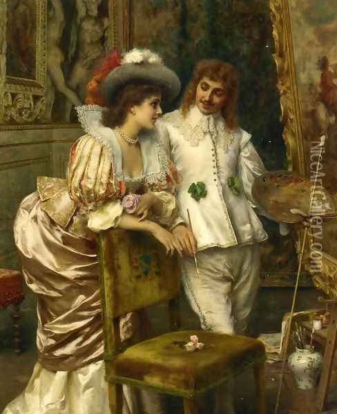 A Visit to the Studio Oil Painting - Federico Andreotti