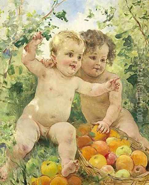 Two children with a fruit basket Oil Painting - Federico Andreotti