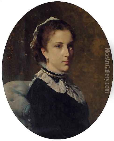 Portrait of Edith Sancroft-Kohnes, bust-length, in a black dress with grey collar Oil Painting - Federico Andreotti
