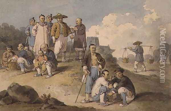 A group of Chinese watching the Earl Macartney's Embassy to China Oil Painting - William Alexander