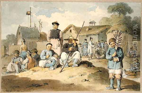 A group of Chinese on the bank of a river, watching the Earl Macartney's Embassy pass, 1793 Oil Painting - William Alexander