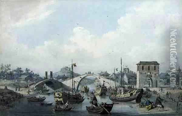 Boats on the River at Suchow, China Oil Painting - William Alexander