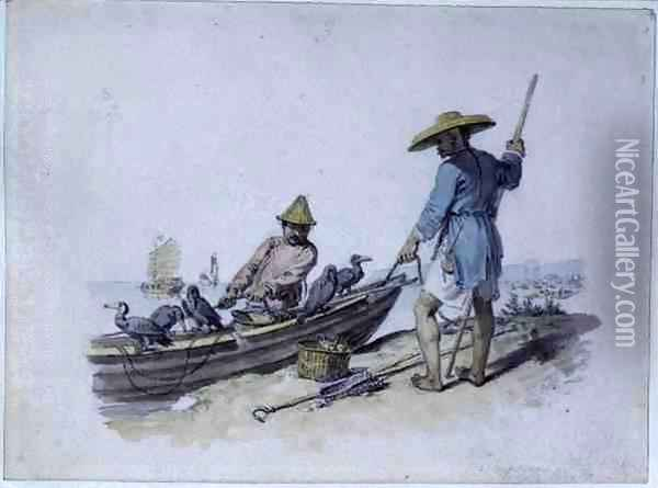 Chinese Fishermen with Cormorants Oil Painting - William Alexander