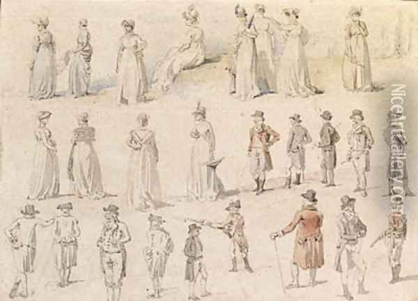 A sheet of figure studies for 'The dinner in Mote Park, Maidstone', Kent Oil Painting - William Alexander