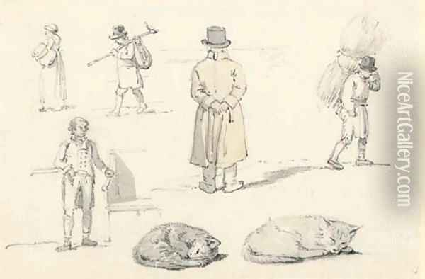 A sheet of figure and animals studies, including a man looking over a wall and cats sleeping Oil Painting - William Alexander