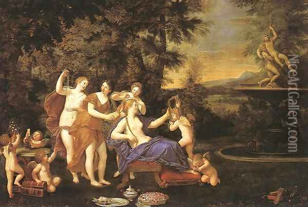 Venus Attended by Nymphs and Cupids Oil Painting - Francesco Albani