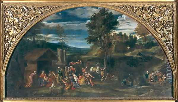 Landscape with the Adoration of the Magi Oil Painting - Francesco Albani