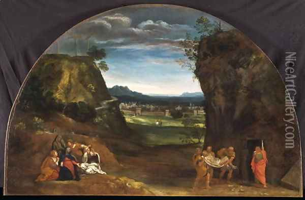 Landscape with the Deposition of Christ Oil Painting - Francesco Albani