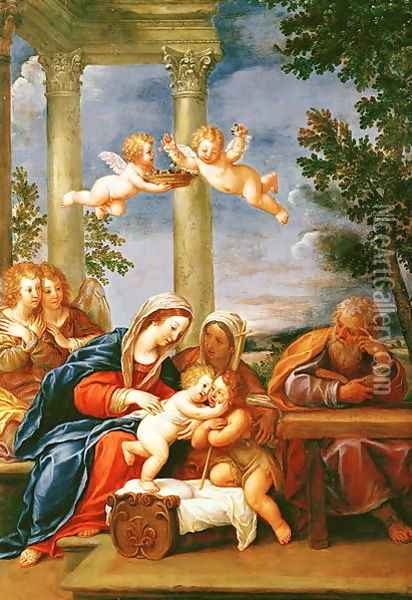 The Holy Family with St. Elizabeth and St. John the Baptist c.1645-50 Oil Painting - Francesco Albani