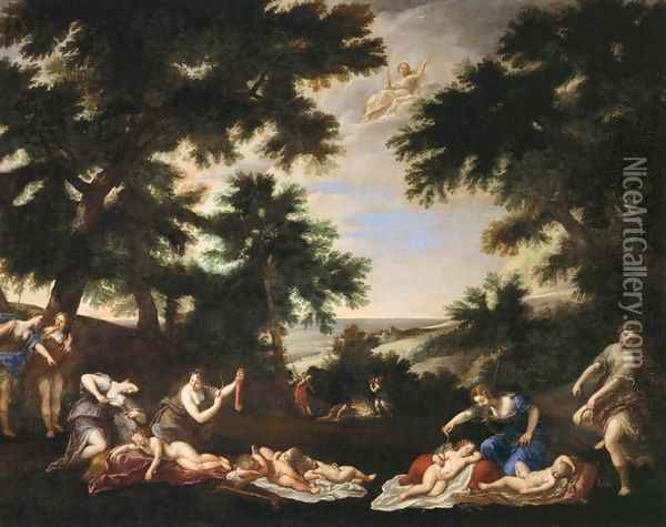 The Cupids Disarmed Oil Painting - Francesco Albani