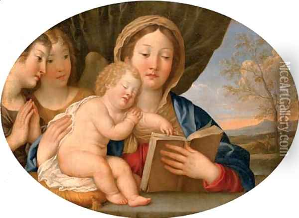 The Madonna and Child with attendant angels Oil Painting - Francesco Albani